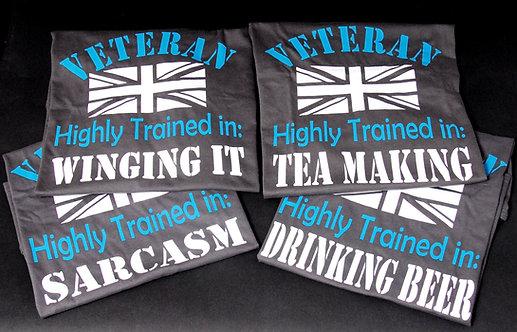 Uk Veteran highly trained T-shirt 4 design's Unisex Grey V neck T-shirt