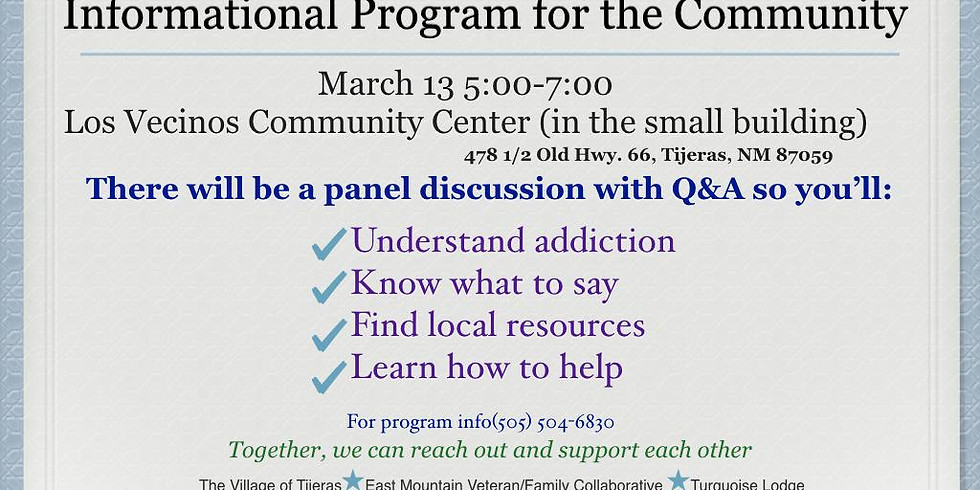 CANCELLED--Substance Abuse Awareness and Prevention Informational Program for the Community