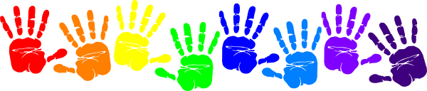 child painted hand prints