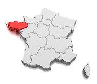 Carte de france avec bretagne en rouge