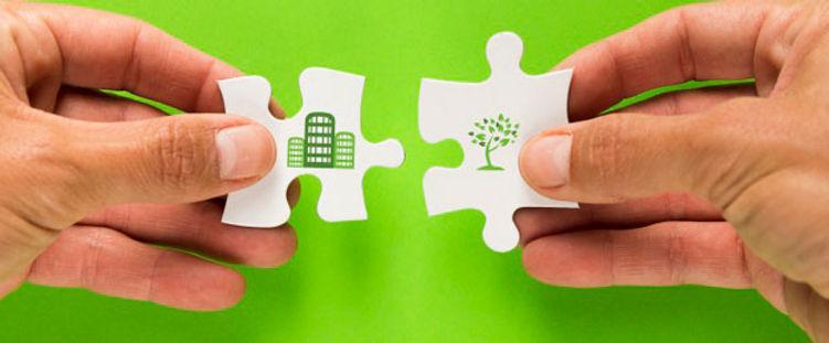 Bygning og økologi med puslespilsbrikker