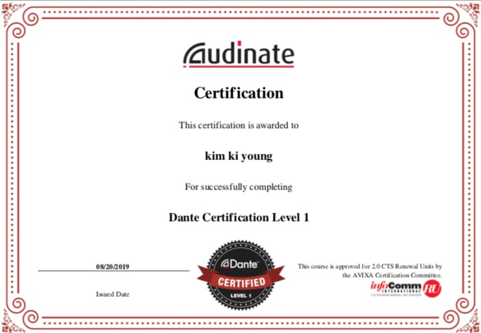 Dante certification Level1