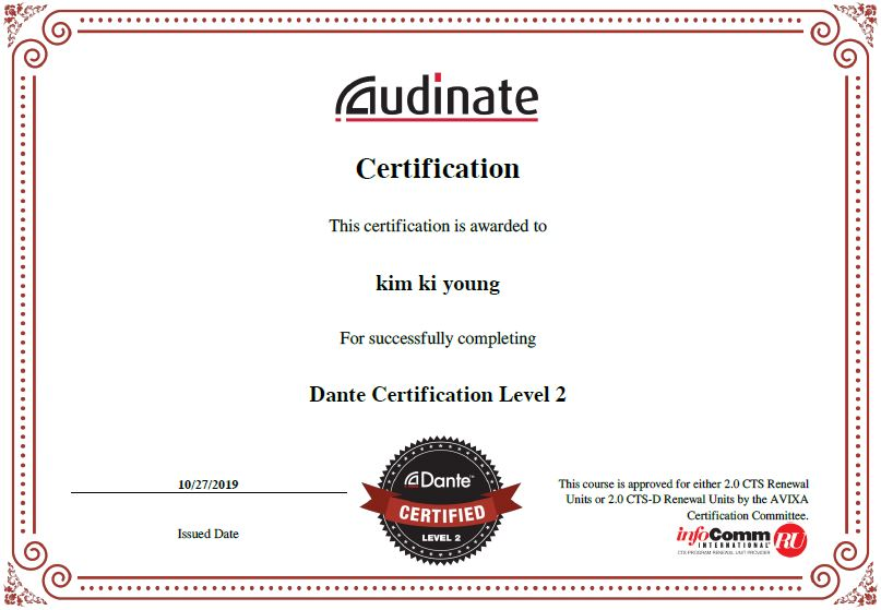 Dante certification Level2