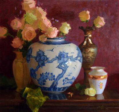 'Blue Porcelain and Reds'