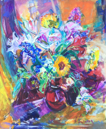 'Bouquet in a Red Vase'