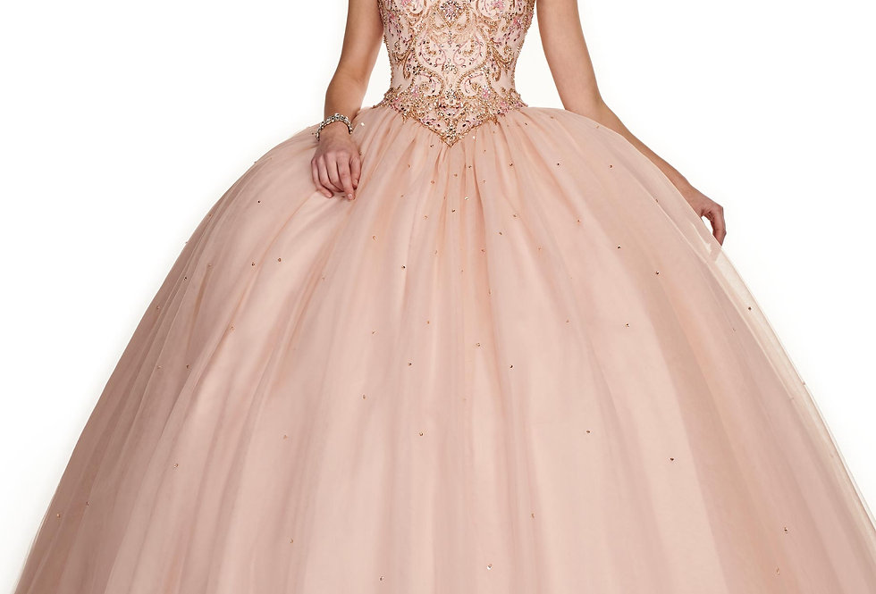 Beaded sleeveless A-line Quinceanera Dress