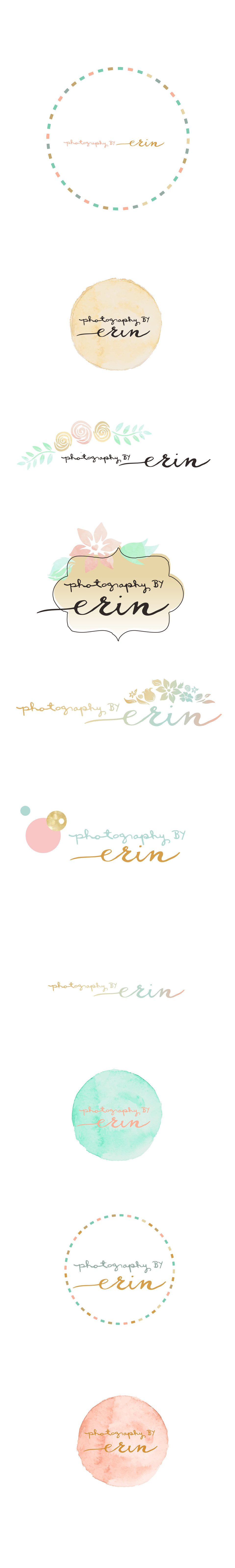 Photography by Erin logo concept design rose, gold, mint, handwriting, watercolor, hand drawn, grey,