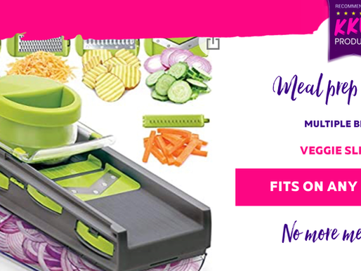 Meal Prep Friendly Multiple Blade - Veggie Slicer - Fits onto any bowl- no more mess