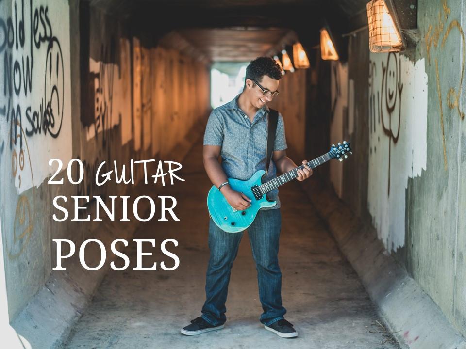 20 Senior Guys Poses using a Guitar
