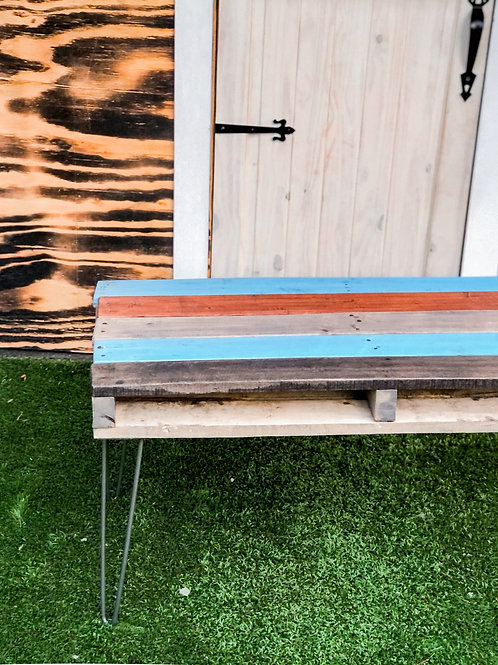 Reclaimed wood coffee table with blue and multicolored stain