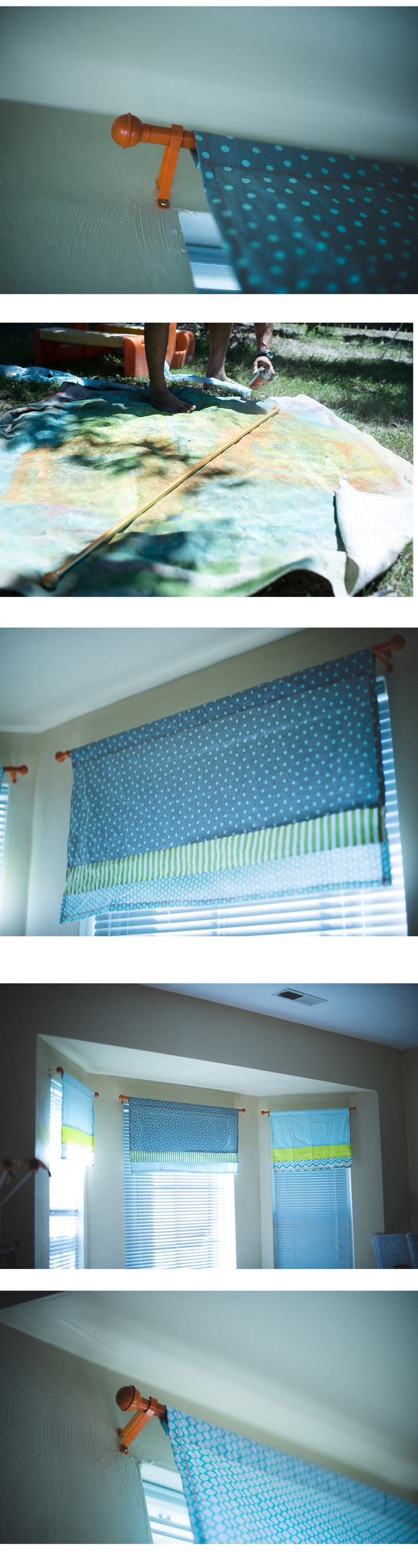 Cheap Fun DIY Add some splash of color to your boring curtain rods