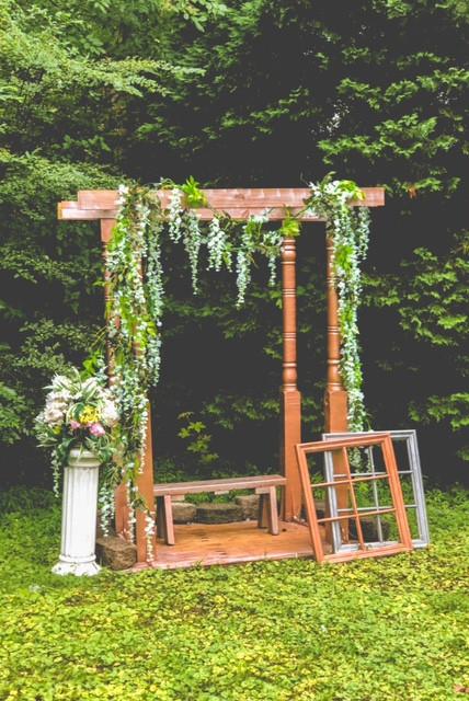 Hand- made wedding arbor
