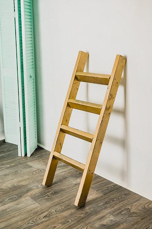 Rustic decorative 4 foot reclaim wood handmade farmhouse ladder