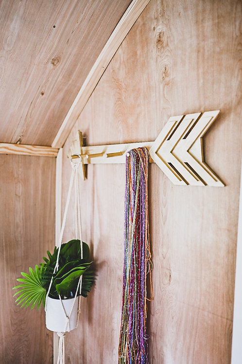 (Set of 2) reclaimed & reburbished wooden arrows with pegs for nursery, playroom