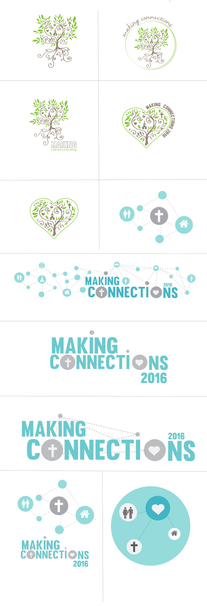 """Making Connections"" Church Graphics Concept Art logo minimal flat design blue green tree"