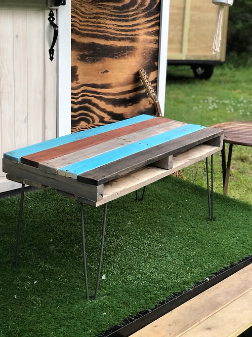 Reclaimed wood coffee table made by hand