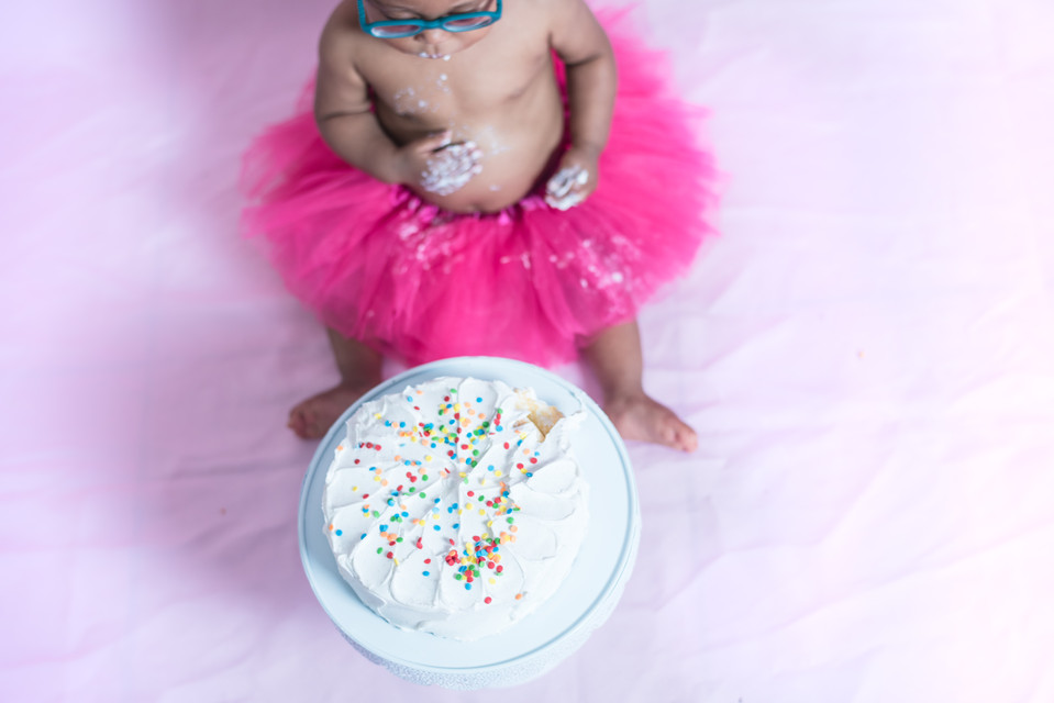 Chesapeake Virginia Indoor Girl One Year Cake Smash Hot Pink, Yellow and White