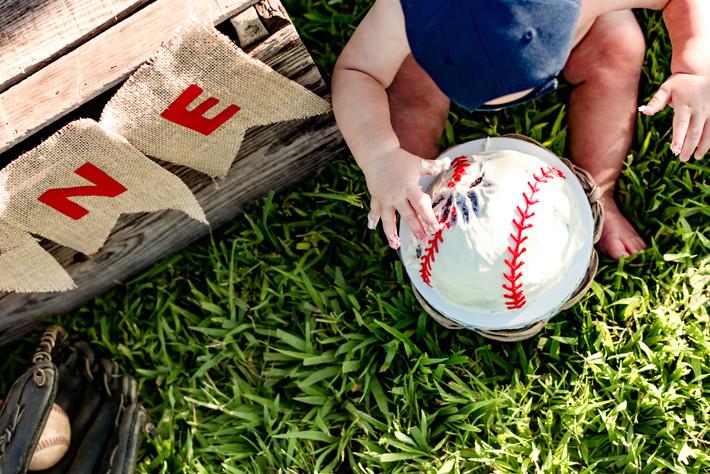 Chesapeake Cake Smash Photographer Great Bridge High School Vintage Baseball One Year Birthday Party