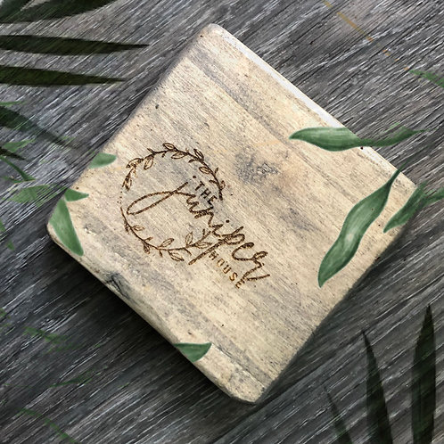 engraved personalized Hand-made reclaimed wooden pallet board coasters - grey