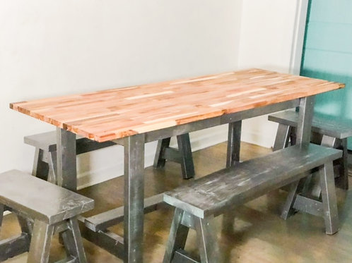 Butcher Block Farm House Table with minimalistic legs and stools