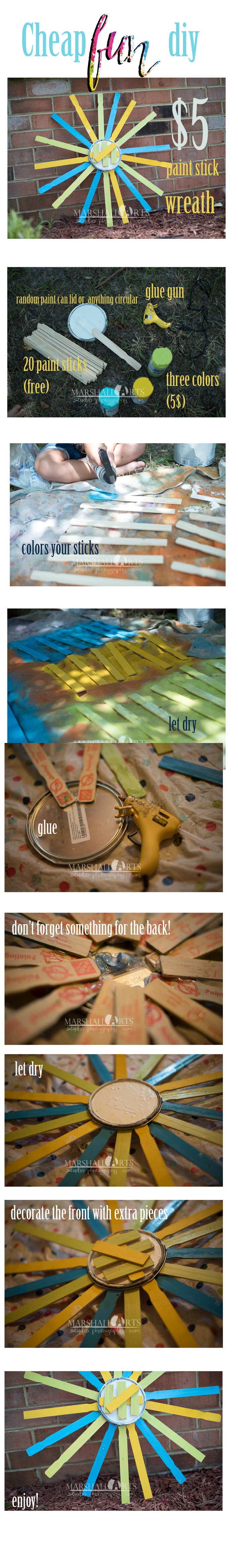 Cheap Fun DIY how to make a 5 dollar paint stick wreathe