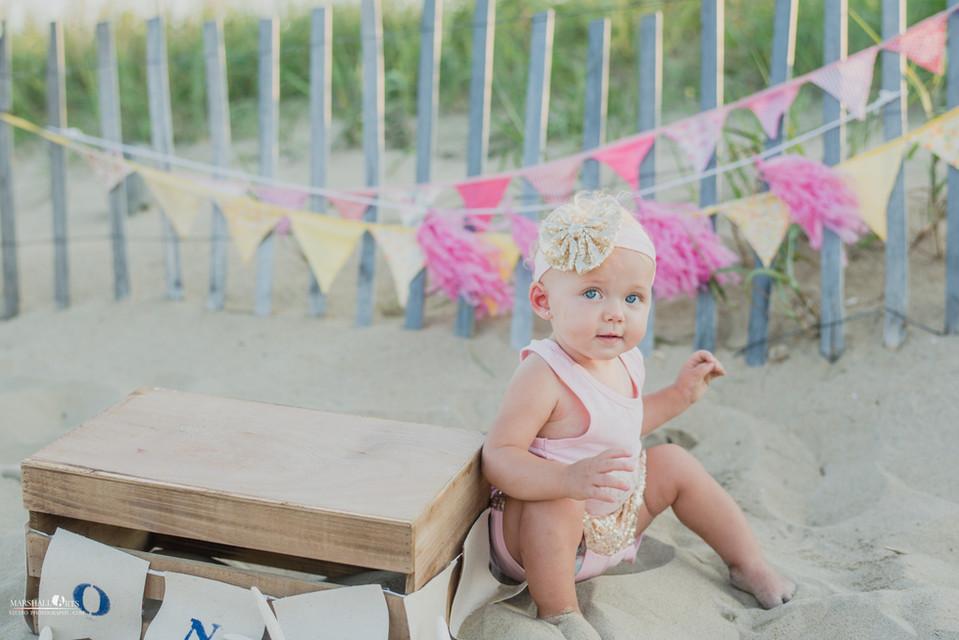 Sandbridge Beach Virginia Beach Little Island Park pink and yellow one year birthday cake smash