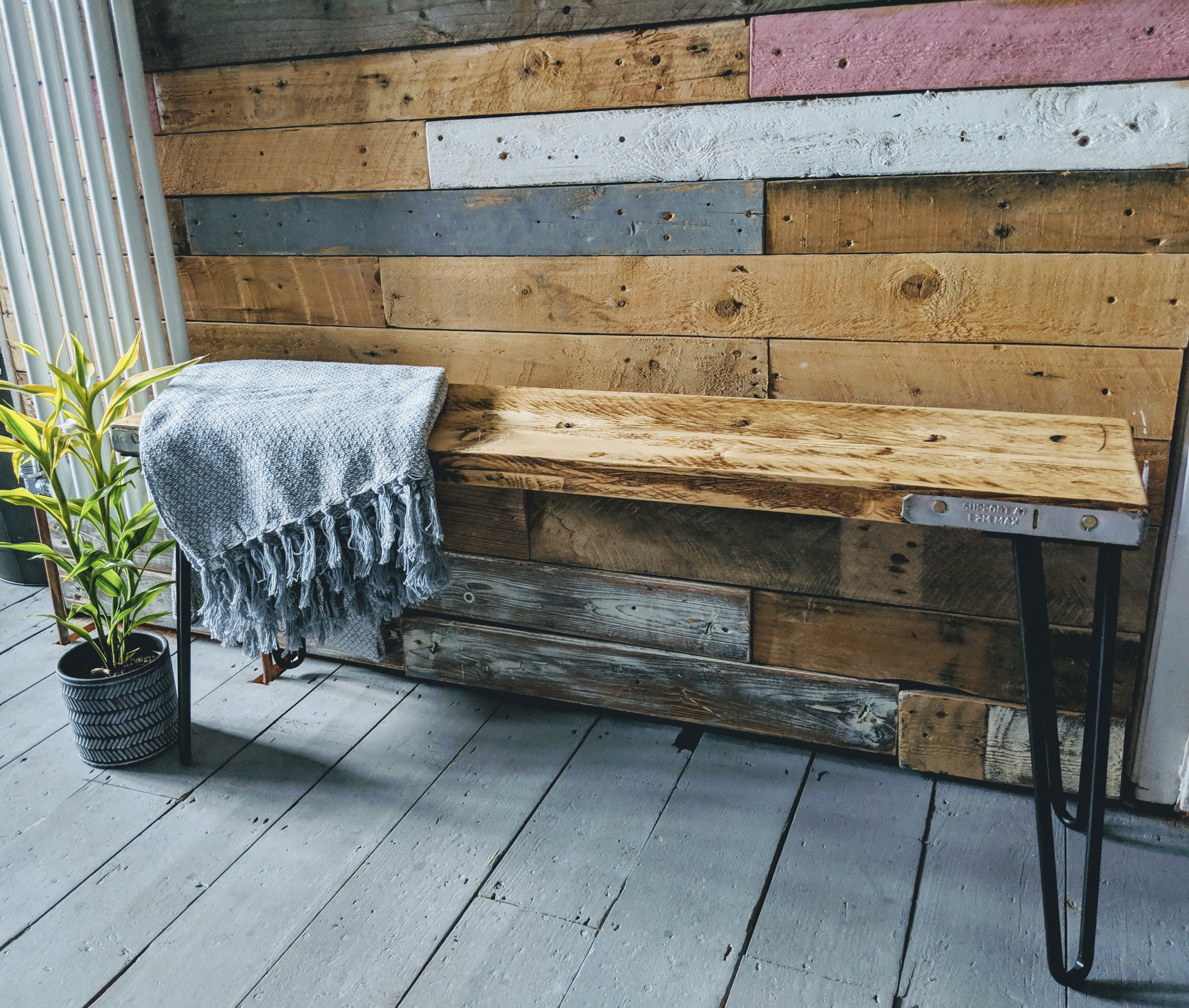 Handmade Reclaimed Scaffold Board 'Flo' Bench | Mollieandflo