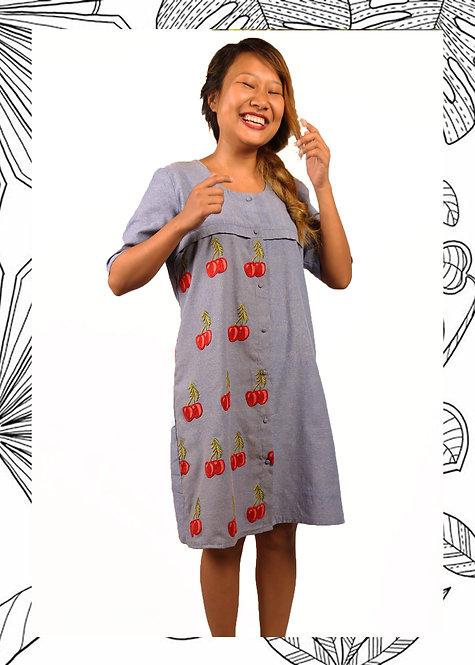 CHERRY BLOCKED SHIRT DRESS