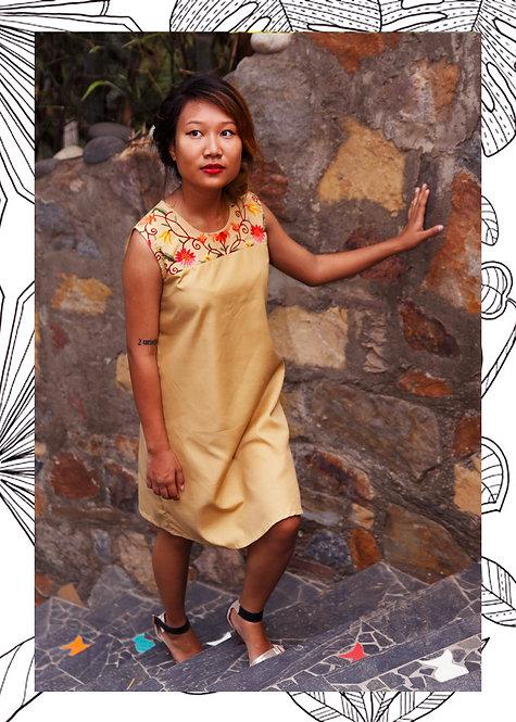 FULL BLOOM YOKE SHIFT DRESS