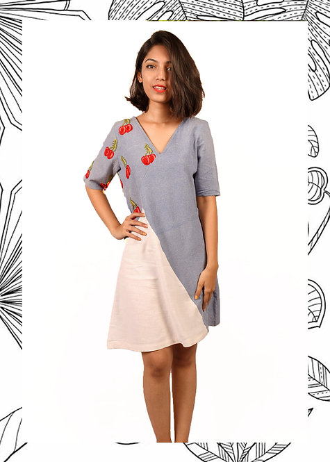 CHERRY BLOCKED SHIFT DRESS