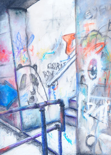 Mixed Media on Paper Alleyway