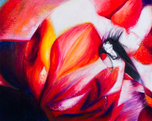 Projection of flower on Dancer.  A3 paper  Materials: Black Ink Pen Pastels
