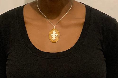 NS47 Sterling silver Fluer de Lis and butterscotch Amber necklace