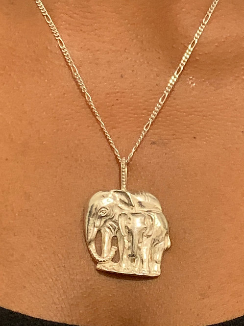NS48 Sterling silver double Elephant necklace