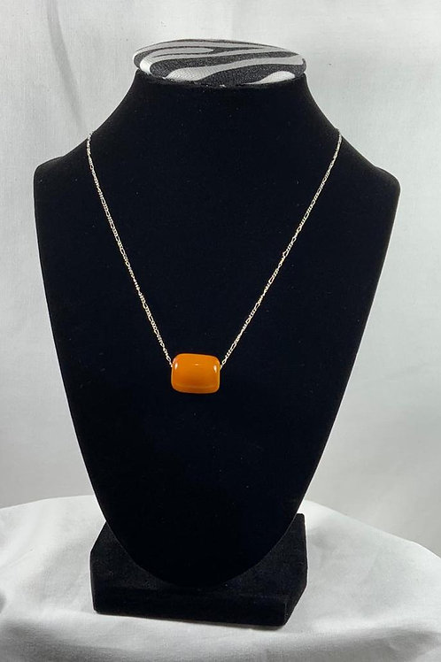 """N9 Amber 18"""" Sterling Silver chain necklace"""