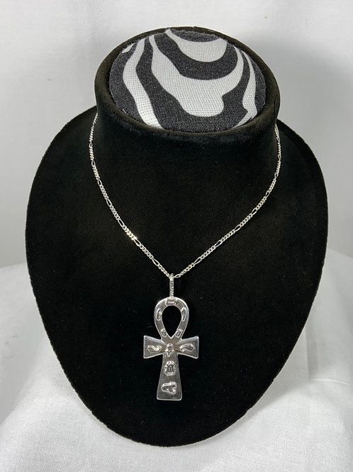 N18 Sterling silver Ankh with Egyptian symbols Necklace