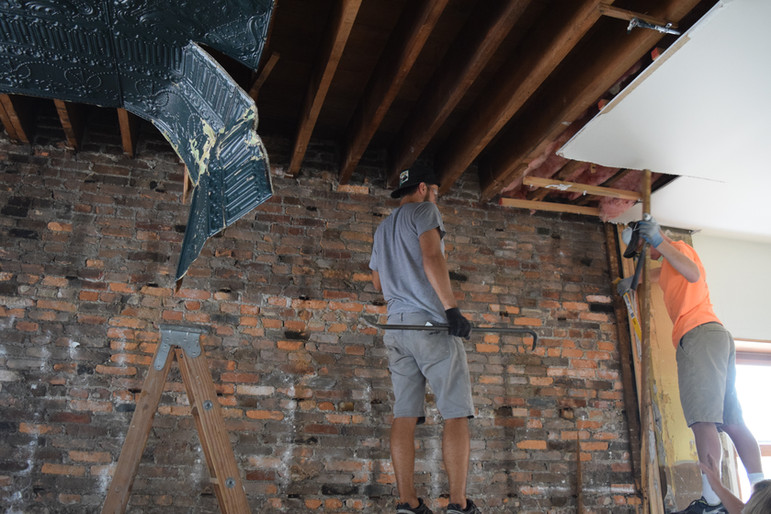 Tin ceiling removal