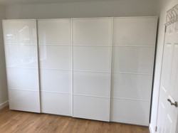 Double Ikea PAX sliding wardrobe assembled by www.norwichflatpack.co.uk