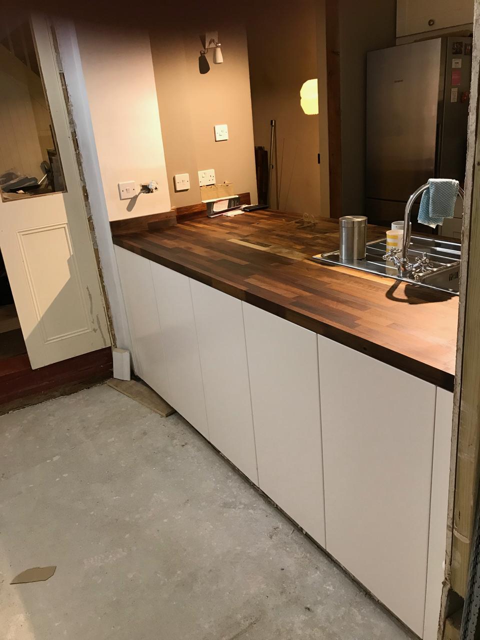 New walnut worktop and units