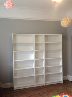 Ikea Billy bookcases for a playroom assembled by www.norwichflatpack.co.uk