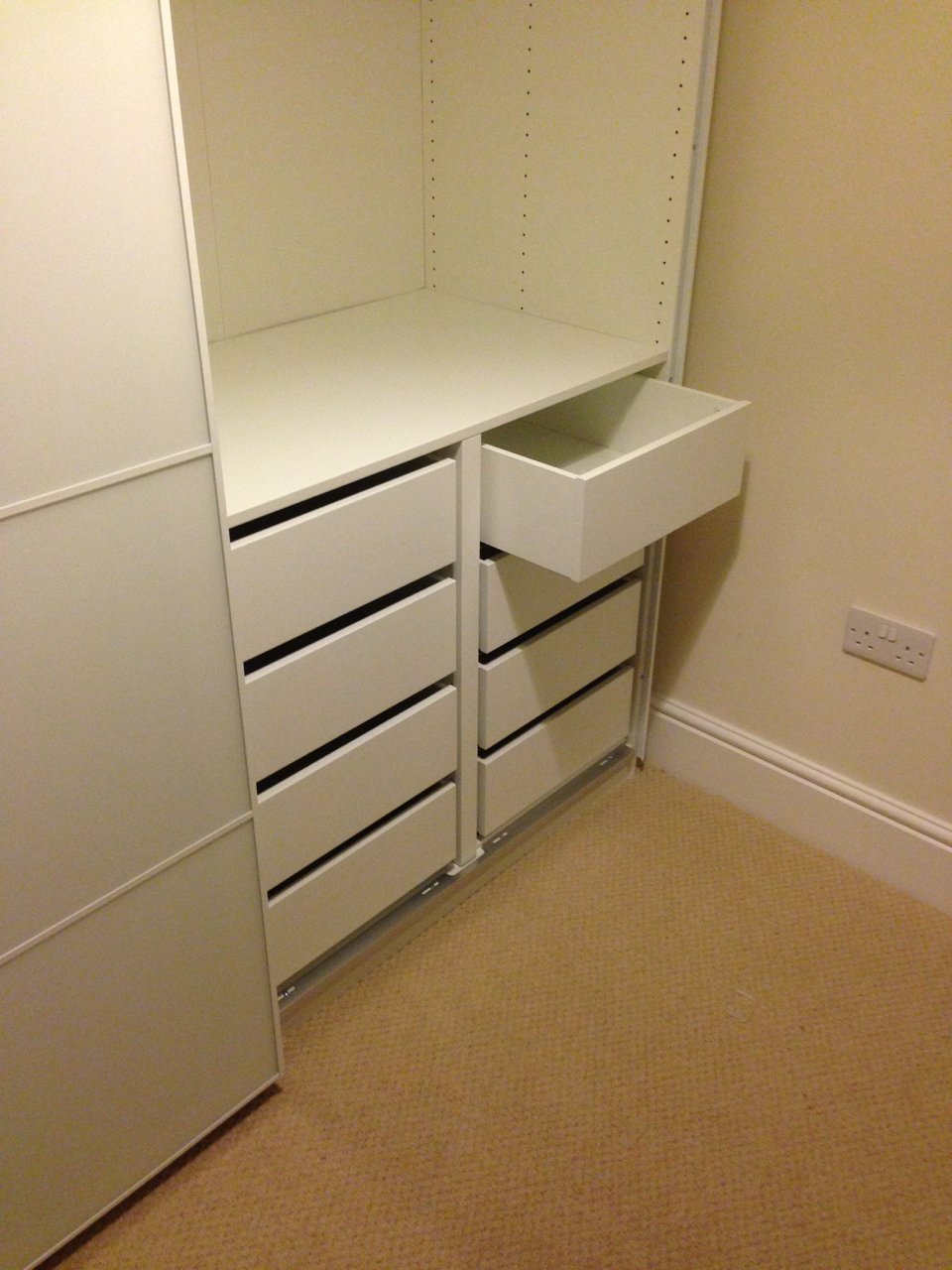 Ikea PAX wardrobes features soft close drawers assembled by www.norwichflatpack.co.uk