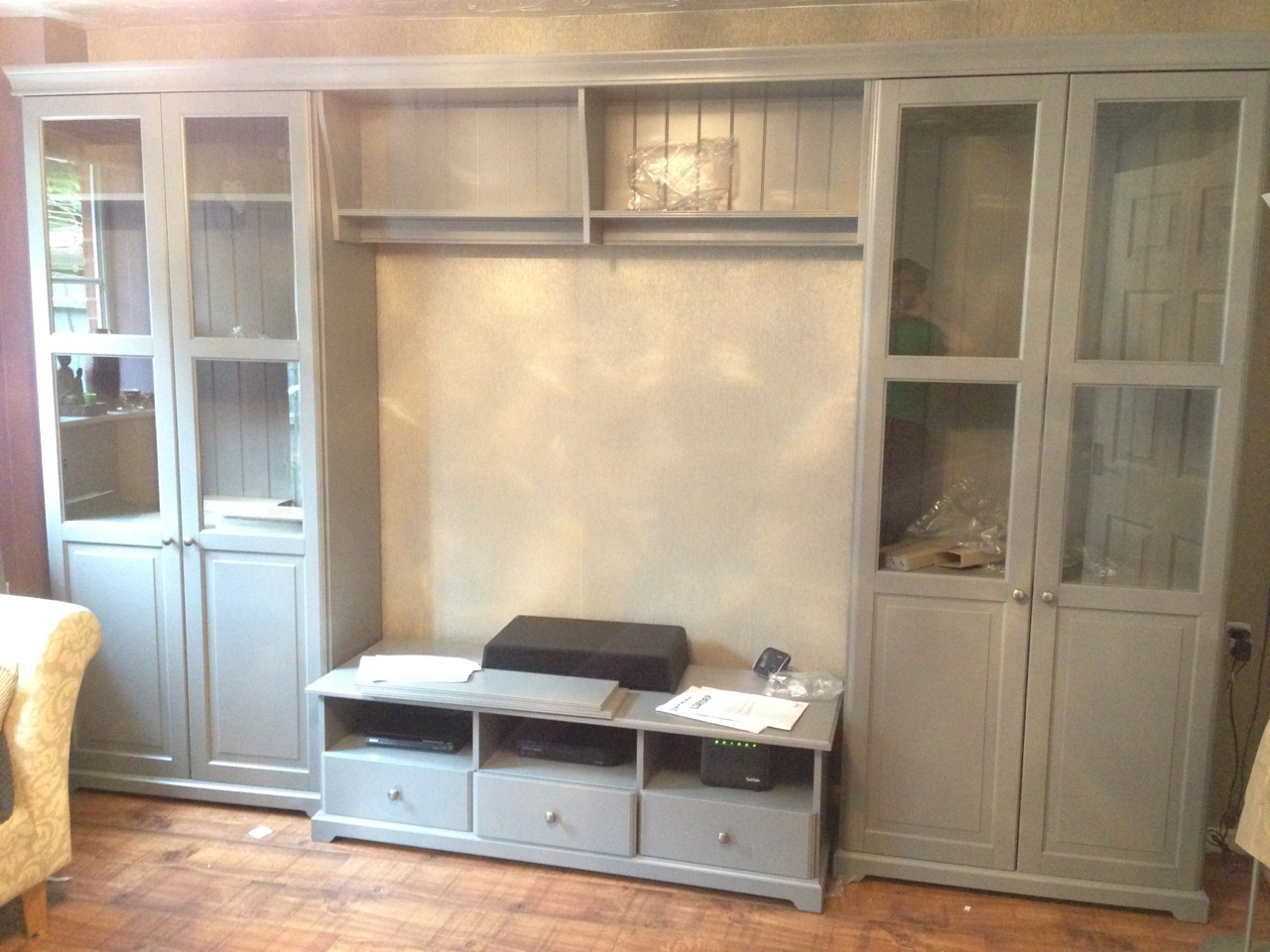 Ikea Liatorp display cabinets and TV storage combination assembled by www.norwichflatpack.co.uk