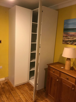 Ikea PAX corner wardrobe used as kitchen storage assembled by www.norwichflatpack.co.uk