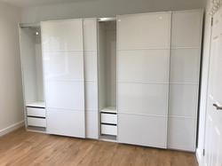 Double Ikea PAX sliding wardrobe interiors assembled by www.norwichflatpack.co.uk
