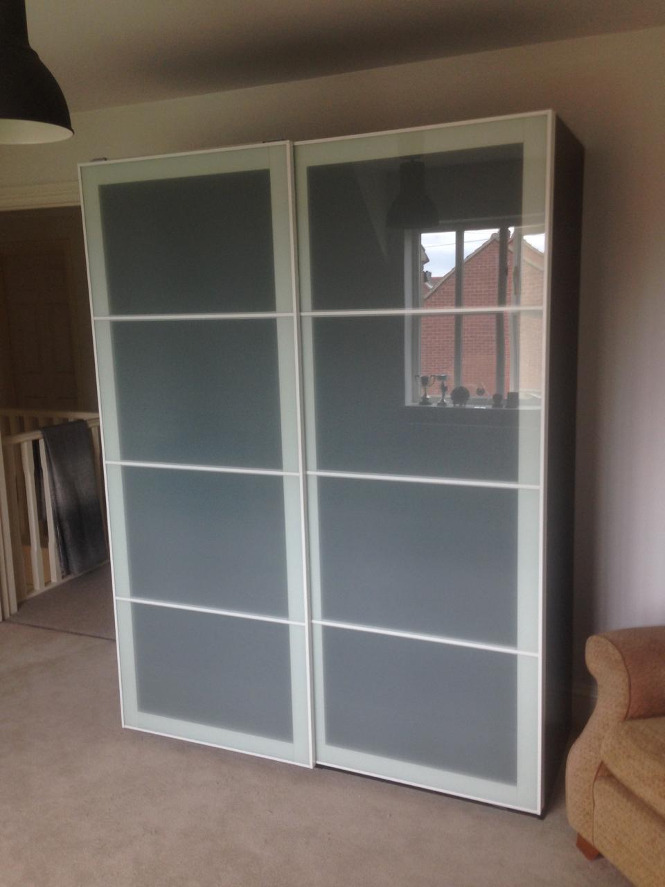 Ikea PAX sliding frosted glass Sekken wardrobes assembled by www.norwichflatpack.co.uk