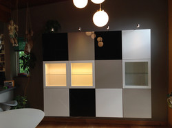 Ikea Besta units cube wall mounted for a artistic house assembled by www.norwichflatpack.co.uk