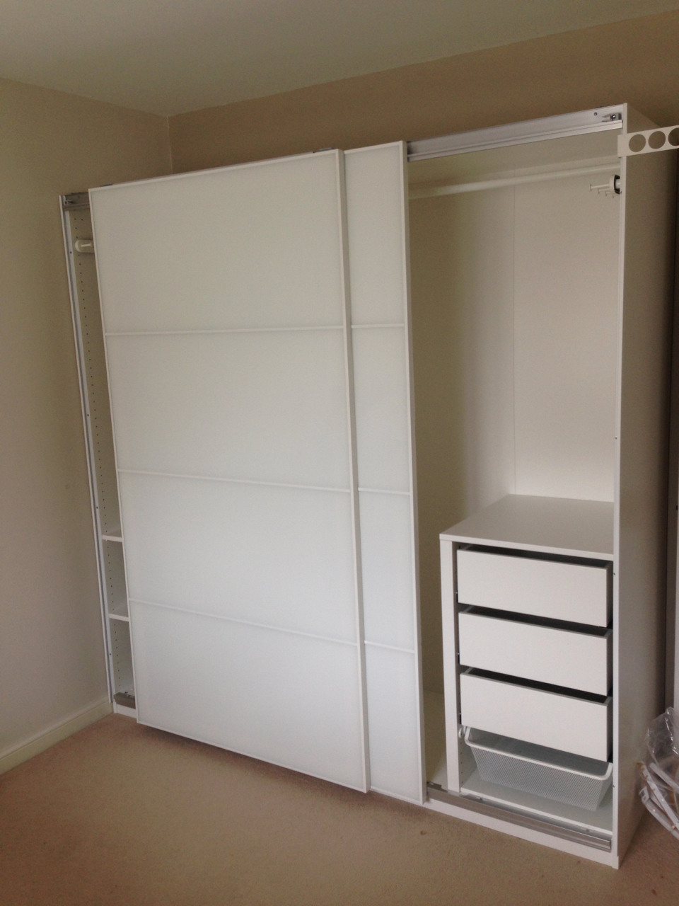 Ikea PAX sliding white glass Farvik wardrobes interiors drawers assembled by www.norwichflatpack.co.