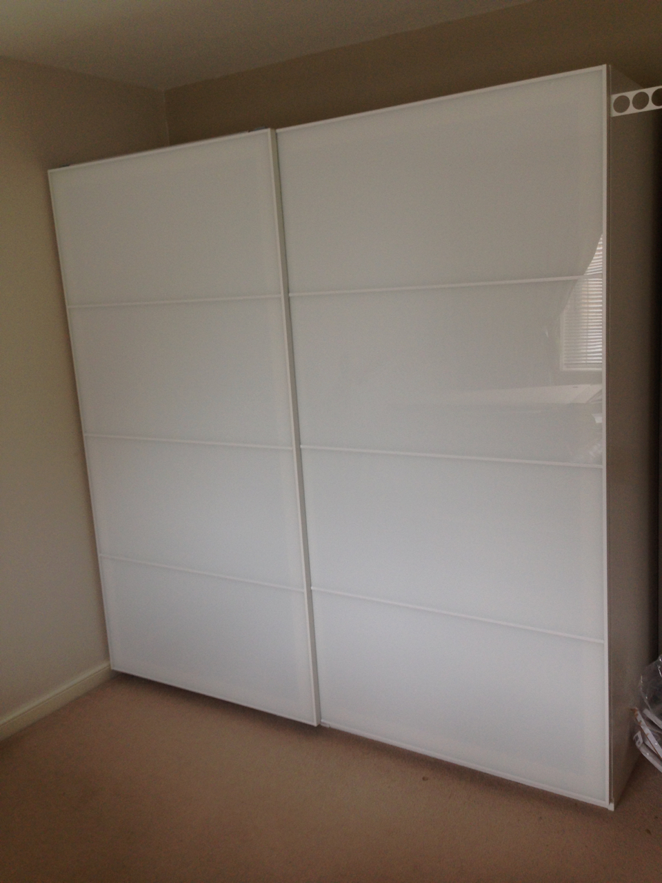 Ikea PAX sliding white glass Farvik wardrobes assembled by www.norwichflatpack.co.uk