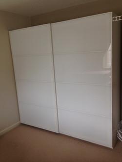 Ikea PAX sliding white glass Farvik wardrobes assembled by www.norwichflatpack.co.uk