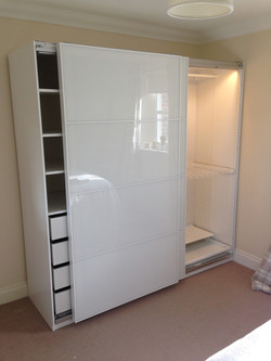 Ikea PAX sliding Farvik glass doors interiors lighting wardrobes assembled by www.norwichflatpack.co